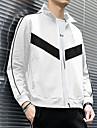 בגדי ריקוד גברים ג\'קט יומי אביב קיץ רגיל מעיל עומד רגיל פעיל Jackets שרוול ארוך קולור בלוק דפוס לבן שחור