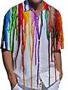男性用 シャツ 3Dプリント 勾配 プラスサイズ 3Dプリント ボタンダウン 半袖 カジュアル トップの カジュアル ファッション ストリートファッション 高通気性 ホワイト / スポーツ