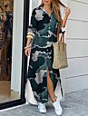 Women\'s Shirt Dress Maxi long Dress Blue Long Sleeve Print Print Spring Summer V Neck Casual Holiday 2021 S M L XL XXL 3XL