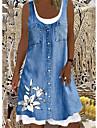 Women\'s T Shirt Dress Tee Dress Knee Length Dress Denim color Sleeveless Print Pocket Button Spring Summer Round Neck Casual / Daily 2021 S M L XL XXL XXXL