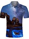 Pánské Golfová košile Tenisové tričko 3D tisk Scéna Tlačítko dolů Krátký rukáv ulice Topy Na běžné nošení Módní Chladný Prodyšné Vodní modrá / Sport