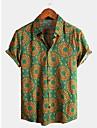 Per uomo Camicia Tribale Manica corta Quotidiano Top Cotone Essenziale Boho Colletto classico Verde / Spiaggia
