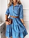 Women\'s Denim Shirt Dress Knee Length Dress Blue Long Sleeve Solid Color Pocket Patchwork Spring Summer Shirt Collar Casual 2021 S M L XL XXL XXXL