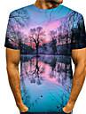 Homens Camisetas Camiseta Camisa Social Impressao 3D Estampas Abstratas floresta Estampado Manga Curta Diario Blusas Casual Designer Grande e Alto Decote Redondo Azul / Verao