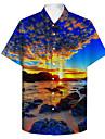 男性用 シャツ 3Dプリント 自然风光 プラスサイズ 3Dプリント ボタンダウン 半袖 カジュアル トップの カジュアル ファッション 高通気性 快適 ブルー / スポーツ