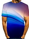Муж. Футболки Футболка 3D печать Графические принты Стример С принтом С короткими рукавами Повседневные Верхушки На каждый день Оригинальный рисунок Большой и высокий Синий