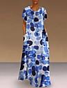 여성용 A 라인 드레스 맥시 드레스 푸른 클로버 오렌지 민소매 프린트 봄 여름 캐쥬얼 / 데일리 2021 S M L XL XXL