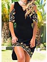 Women\'s A Line Dress Knee Length Dress Black Short Sleeve Floral Color Block Patchwork Print Summer V Neck Casual 2021 S M L XL XXL 3XL