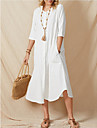 Women\'s A Line Dress Midi Dress White Half Sleeve Solid Color Pocket Patchwork Spring Summer Round Neck Casual 2021 S M L XL XXL 3XL / Cotton / Cotton