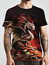 Hombre Unisexo Tee Camiseta Camisa Impresion 3D Dragon Estampados Tallas Grandes Estampado Manga Corta Casual Tops Basico De Diseno Grande y alto Escote Redondo Negro / Verano