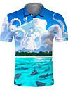 Pánské Golfová košile Tenisové tričko 3D tisk Scéna Chobotnice Tlačítko dolů Krátký rukáv ulice Topy Na běžné nošení Módní Chladný Prodyšné Vodní modrá / Sport