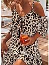 Women\'s A Line Dress Short Mini Dress Apricot Short Sleeve Leopard Print Cold Shoulder Spring Summer V Neck Hot Sexy Casual / Daily 2021 S M L XL XXL