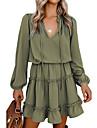 Women\'s Swing Dress Short Mini Dress Grey Green Sky Blue Black Red Long Sleeve Solid Color Spring & Summer Classic & Timeless 2021 S M L XL