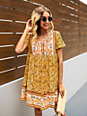 Women\'s Swing Dress Knee Length Dress Yellow Red Wine Green Short Sleeve Print Spring Summer Boho 2021 S M L XL