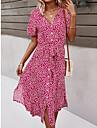 여성용 쉬폰 드레스 미디 드레스 옐로우 클로버 스카이 블루 블랙 로즈 레드 짧은 소매 플로럴 식물 스플리트 리본 봄 여름 V 넥 우아함 보호 홀리데이 비치 2021 S M L XL XXL XXXL