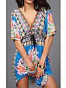 Women's Kaftan Dress Knee Length Dress Blue Yellow Green White Black Red Short Sleeve Floral Bow Print Fall Summer V Neck Elegant Casual 2021 M L XL XXL
