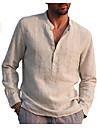 Bărbați Cămașă Culoare solidă Manșon Lung Stradă Topuri Bumbac Ușor Casual / Sport Respirabil Henley În V Albastru Deschis Vin roșu Gri / Plajă