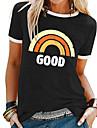dámské triko magimodac letní košile bavlněné topy s krátkými rukávy s duhou (černé (dobré), štítek 2xl / eu 46)