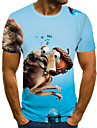 Men\'s Unisex Tee T shirt Shirt 3D Print Graphic Prints Squirrel Plus Size Print Short Sleeve Casual Tops Basic Fashion Designer Big and Tall Round Neck Blue