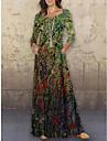Γυναικεία Φόρεμα ριχτό Μακρύ φόρεμα Πράσινο του τριφυλλιού 3/4 Μήκος Μανικιού Φλοράλ Στάμπα Στάμπα Άνοιξη Καλοκαίρι Στρογγυλή Λαιμόκοψη Καθημερινό Αργίες 2021 Τ M L XL XXL 3XL