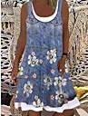 Women\'s Shift Dress Knee Length Dress Light Blue Sleeveless Floral Print Spring Summer Boat Neck Casual Holiday Loose 2021 S M L XL XXL 3XL