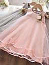 Kids Little Girls\' Dress Solid Colored Print Blushing Pink Gray Knee-length Sleeveless Basic Dresses Summer Regular Fit 3-10 Years