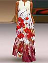 Women\'s Swing Dress Maxi long Dress Blue Yellow Red Sleeveless Floral / Botanical Print Spring Summer V Neck Casual / Daily Holiday 2021 S M L XL XXL XXXL