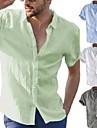 fashion men\'s summer casual dress shirt mens short sleeve shirts tops blouse tee