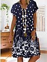Női A vonalú ruha Rövid mini ruha Égszínkék Rubin Tengerészkék Rövid ujjú Virágos Modern stílus Etnikai & Vallásos Nyár V-alakú Alkalmi 2021 S M L XL XXL XXXL 4 XL 5 XL