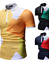 Men\'s Golf Shirt Tennis Shirt Color Block Zipper Short Sleeve Street Tops Cotton Business Casual Comfortable Yellow Black Navy Blue