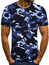 Men\'s Unisex Tee T shirt Shirt 3D Print Camouflage Graphic Prints Plus Size Print Short Sleeve Casual Tops Basic Fashion Designer Big and Tall Round Neck Blue