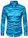 hop fashion mens long sleeve shirts for 70s disco shiny satin silk like button dress shirt hopm384-blue-m