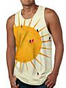 Hombre Camiseta sin mangas Camisetas Interiores Impresion 3D Estampados Sol Estampado Sin Mangas Diario Tops Casual De Diseno Grande y alto Amarillo