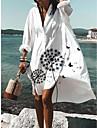 Women\'s Shirt Dress Knee Length Dress sunflower Dandelion White Long Sleeve Pattern Split Print Spring Summer V Neck Chic & Modern Casual 2021 S M L XL XXL