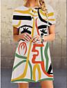 Women\'s A Line Dress Short Mini Dress White Black Short Sleeve Print Abstract Summer Round Neck Casual 2021 S M L XL XXL 3XL