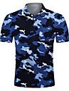 Men\'s Golf Shirt Tennis Shirt 3D Print Camo / Camouflage Button-Down Short Sleeve Street Tops Casual Fashion Cool Breathable Blue / Sports
