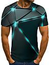Муж. Универсальные Футболки Футболка Рубашка 3D печать Геометрический принт Графические принты Большие размеры С принтом С короткими рукавами Повседневные Верхушки / Круглый вырез