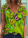 Dámské Tričko Motýl Do V Topy Základní Základní top Vodní modrá Trávová zelená Námořnická modř