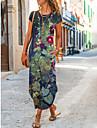Női Pólóruha Maxi hosszú ruha Sötétkék Rövid ujjú Virágos Nyomtatott Tavasz Nyár Terített nyak Alkalmi 2021 S M L XL XXL XXXL