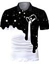 Pánské Golfová košile Tenisové tričko 3D tisk Barevné bloky Tlačítko dolů Krátký rukáv ulice Topy Na běžné nošení Módní Chladný Prodyšné Černá / Sport