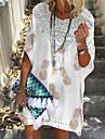 Női Váltó ruha Rövid mini ruha Világoskék Bőr rózsaszín Arcpír rózsaszín Fehér Rövid ujjú Nyomtatott Csipke Kollázs Nyomtatott Tavasz Nyár V-alakú Alkalmi Boho Bő 2021 S M L XL XXL