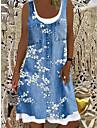 Women\'s Shift Dress Knee Length Dress Blue Gray Brown Light Blue Sleeveless Floral Fake two piece Print Summer Boat Neck Chic & Modern Casual Loose 2021 S M L XL XXL 3XL 4XL