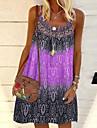 Women\'s A Line Dress Knee Length Dress Purple Yellow Blushing Pink Green Sleeveless Geometric Print Spring Summer Boat Neck Casual 2021 S M L XL 2XL 3XL 4XL 5XL