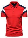Bărbați Cămașă de golf Cămașă de tenis Bloc Culoare Buton în jos Manșon scurt Stradă Topuri Bumbac Afacere Casual Comfortabil Alb Roșu-aprins Bleumarin