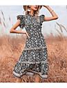 Women\'s A Line Dress Knee Length Dress Black Short Sleeve Floral Summer Round Neck Elegant 2021 S M L XL