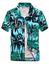 Lu je elegantní pánské havajské tričko s knoflíky na Havaji aloha tropická pláž s palmovým potiskem s krátkým rukávem zelené střední