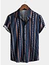 Men\'s Shirt Tribal Short Sleeve Daily Tops Cotton Basic Boho Classic Collar Navy Blue / Beach