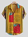 Per uomo Camicia Tribale Bottone giu Manica corta Casuale Top Cotone Casuale Di tendenza Hawaiano Comodo Giallo Verde Rosso
