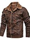 رجالي جاكيت مناسب للبس اليومي الشتاء عادية معطف عادي كاجوال جاكتس كم طويل غير الطباعة لون سادة بقع كاكي أسود بني