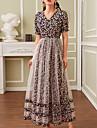 여성용 A 라인 드레스 맥시 드레스 블랙 짧은 소매 프린트 컬러 블럭 패치 워크 프린트 가을 여름 V 넥 캐쥬얼 2021 S M L XL